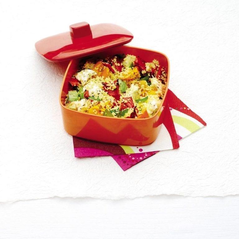 Mozzarella, mixed pepper and basil couscous