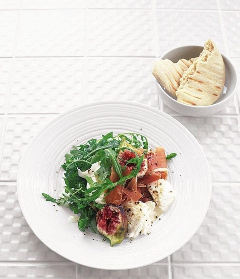 Parma ham, fig and mozzarella salad with warm pitta