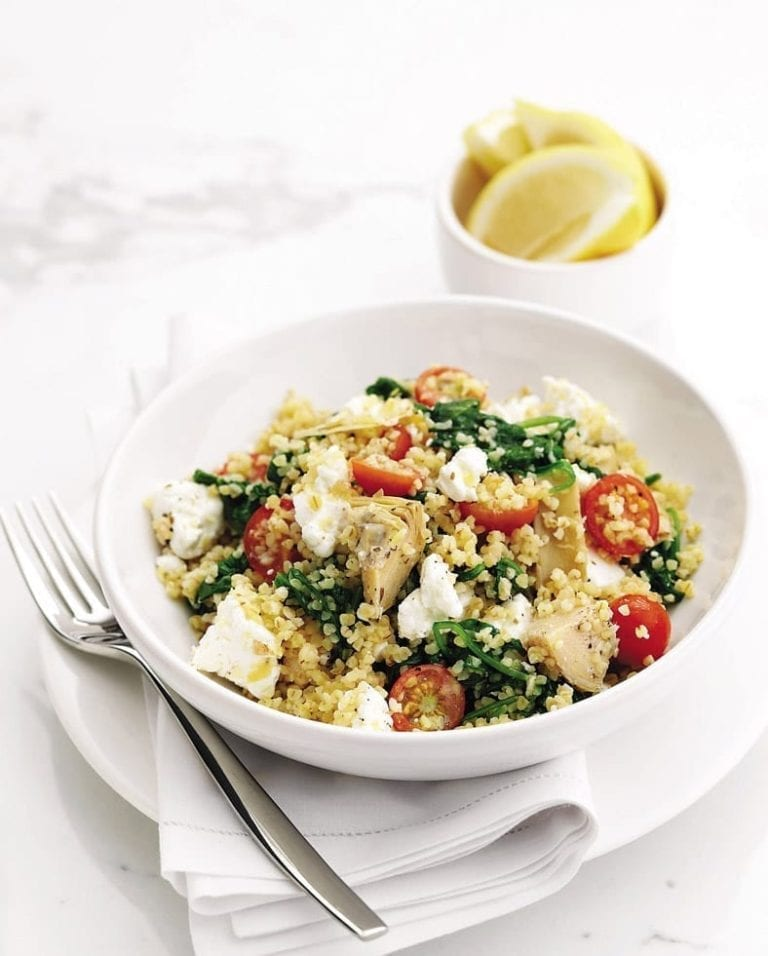 Zesty feta, artichoke and tomato bulgur wheat