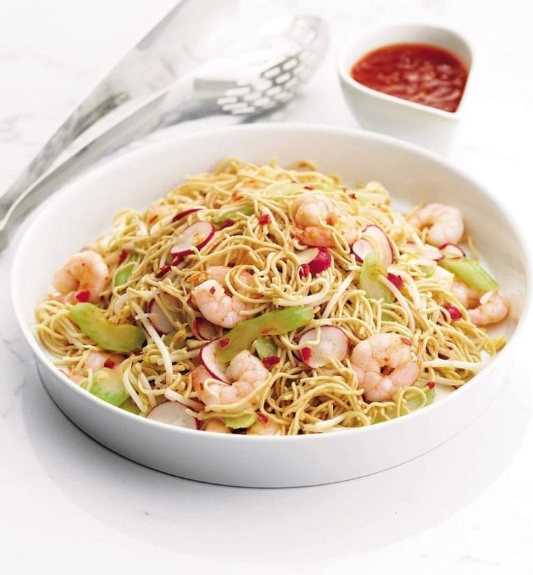 Sweet chilli prawn and egg noodle salad