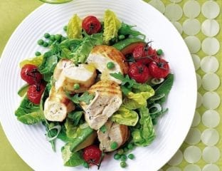 Chargrilled chicken with roasted tomatoes, avocado, peas and mint