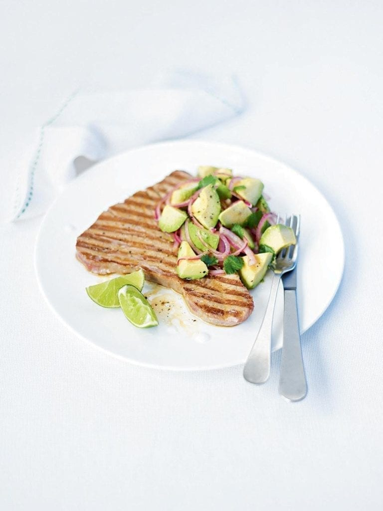 Tuna steaks with avocado and red onion salsa