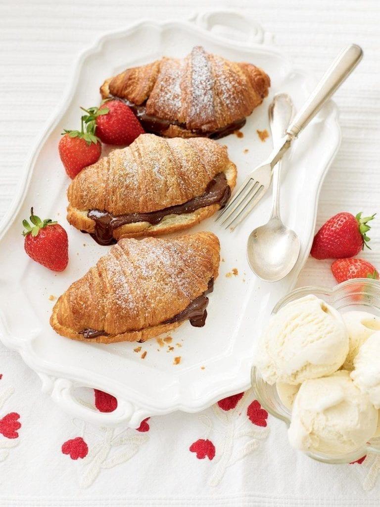 Warm chocolate croissants with ice cream