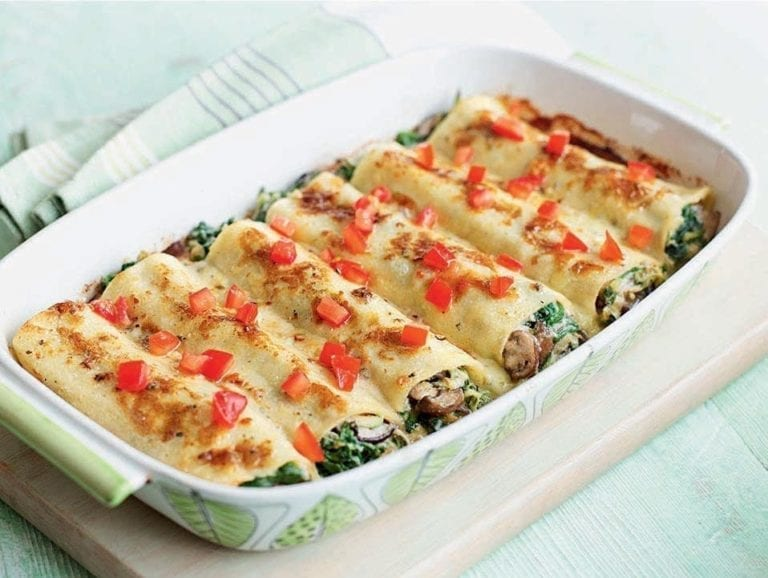 Courgette and mushroom cannelloni