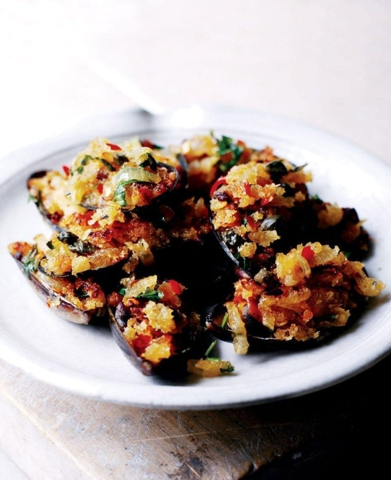 Baked mussels with chilli, anchovy and caper breadcrumbs
