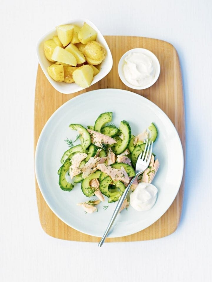 Hot-smoked trout with cucumber and dill salad