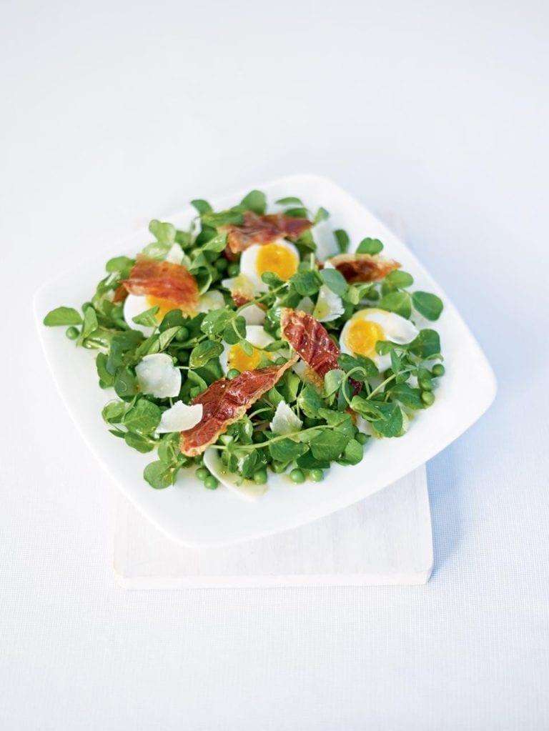 Pea shoot and egg salad with Parma ham and Pecorino