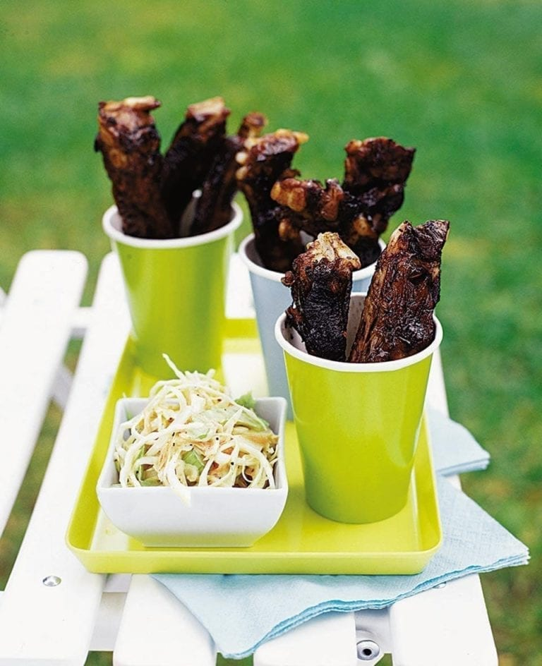 Sticky balsamic pork ribs with coleslaw