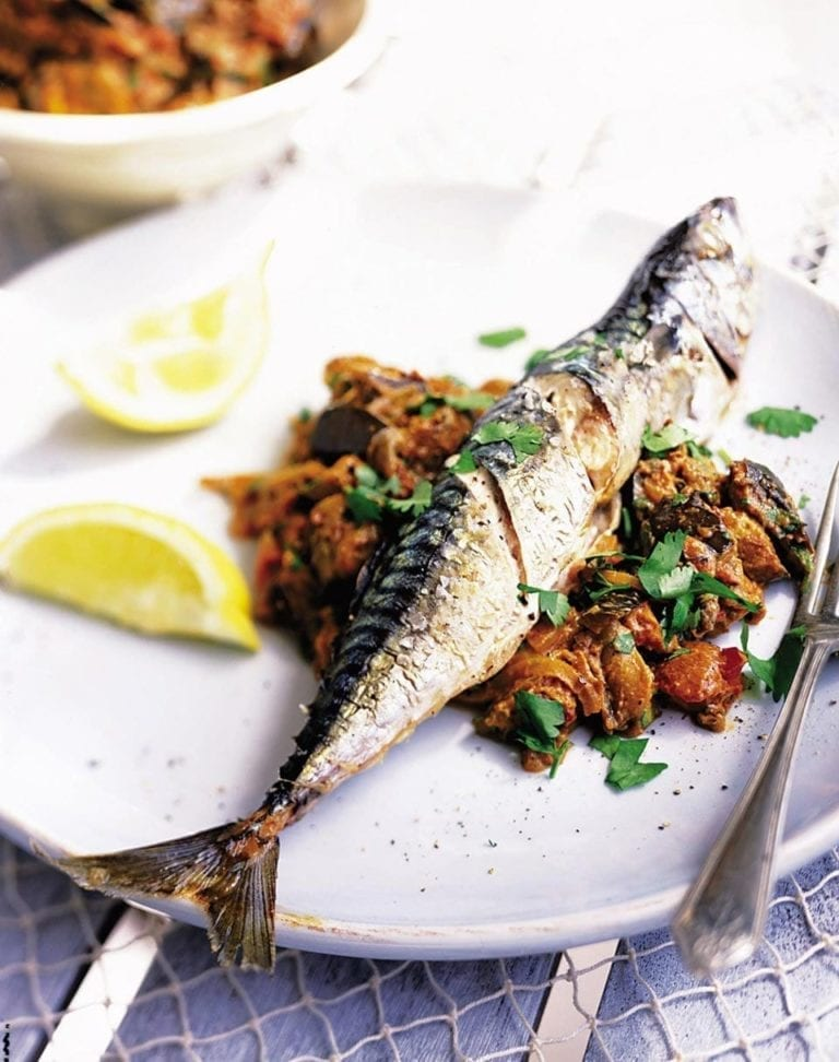 Mackerel with spiced aubergines