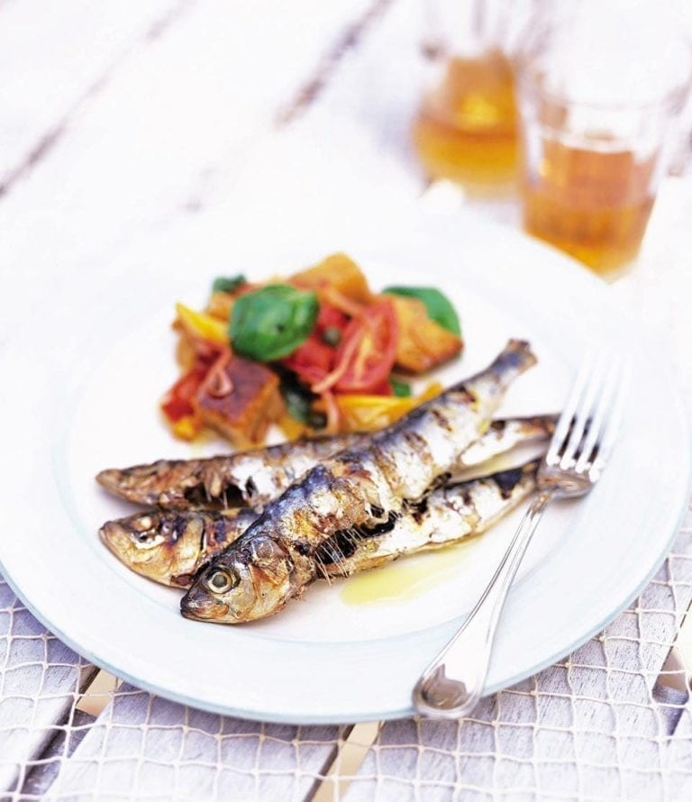 Grilled sardines with panzanella