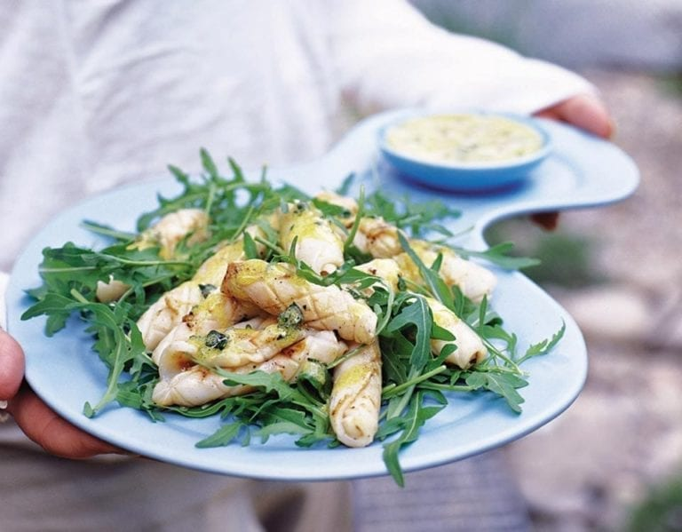 Grilled squid with lemon and thyme dressing