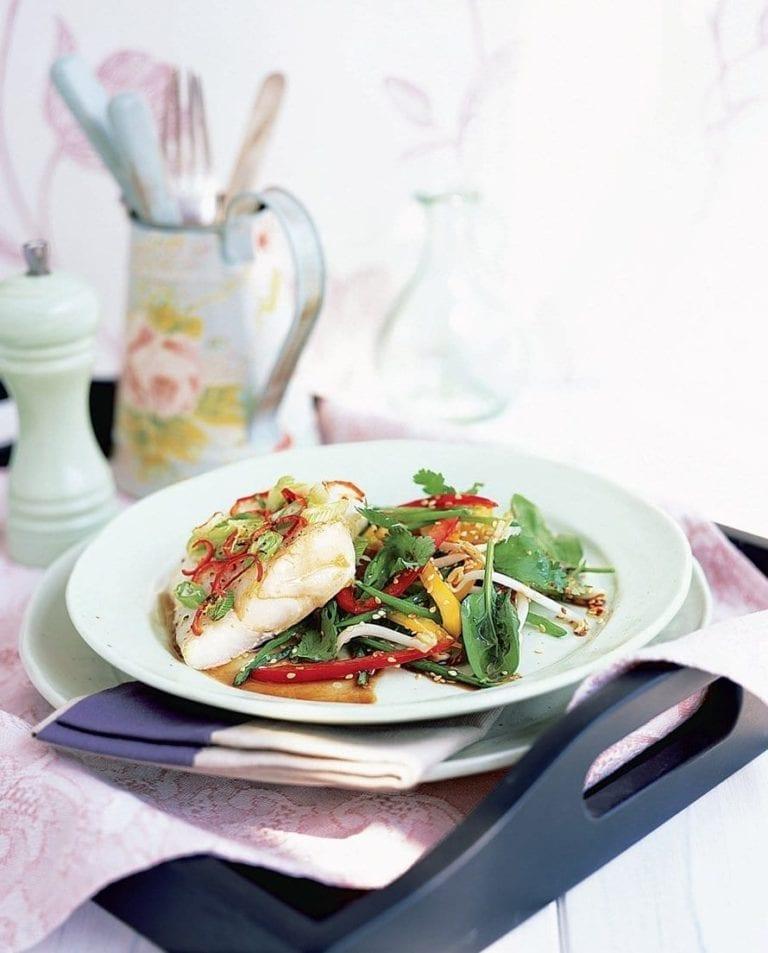 Ginger roast cod with sesame-dressed salad