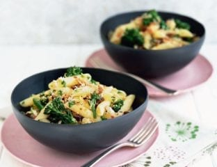 Broccoli, sultana and chilli penne with parmesan crumbs