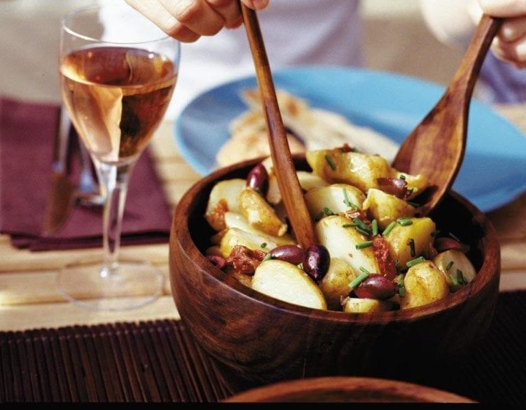 New potato, sun-dried tomato and olive salad