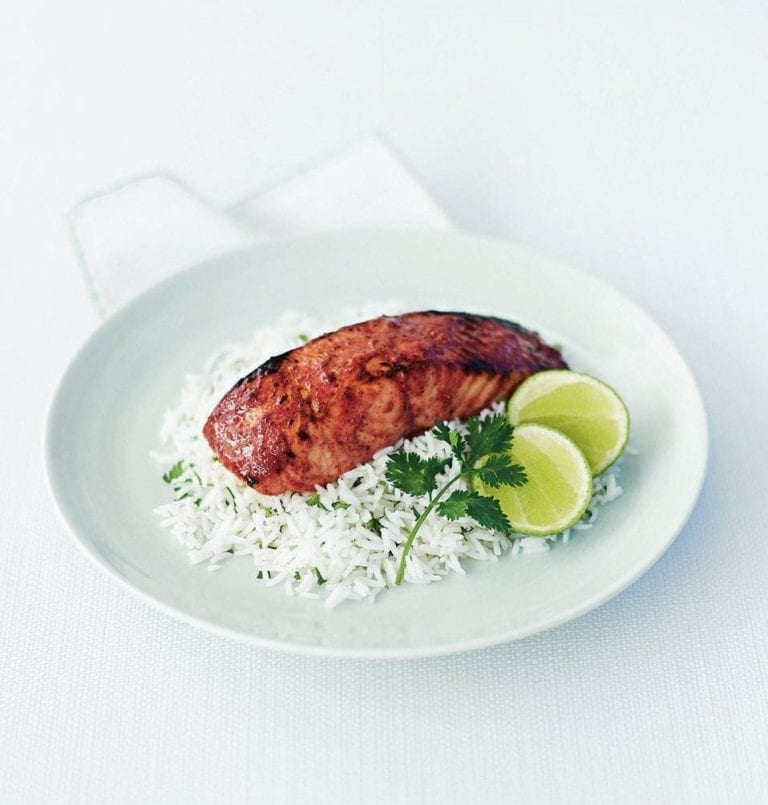 Tandoori salmon steaks