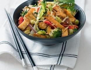 Quick sesame tofu and pak choi stir-fry