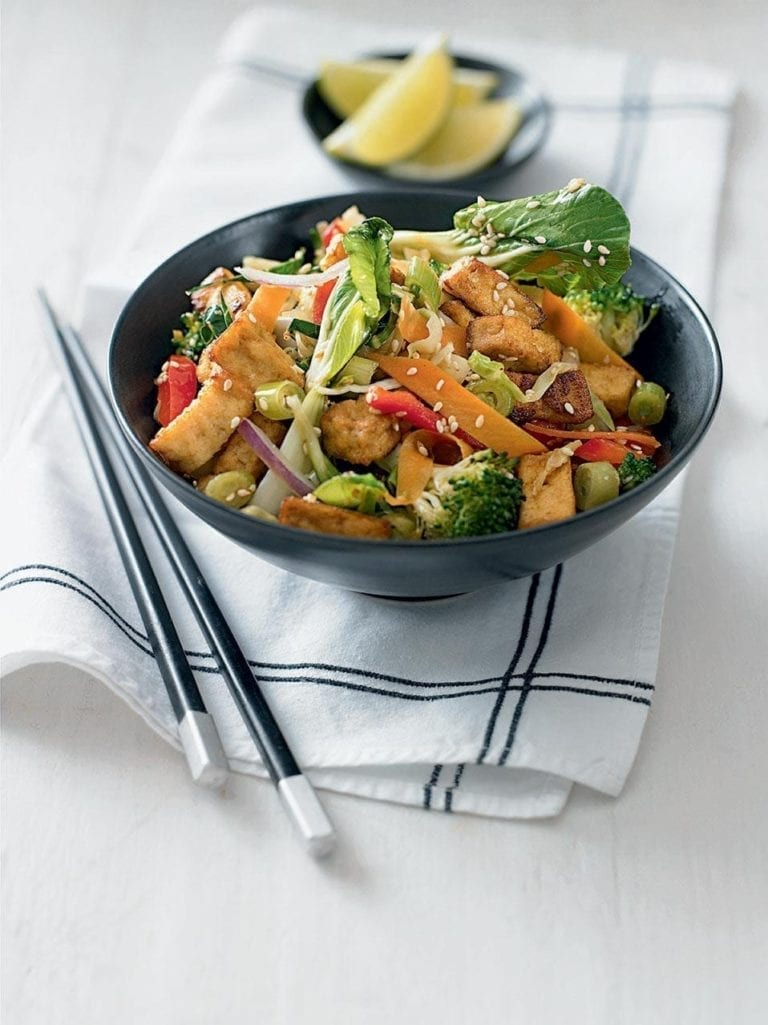 Quick sesame tofu and pak choi stir-fry
