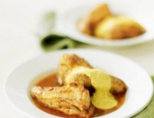 Poached chicken and coronation sauce