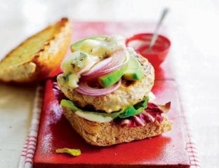 Chicken burger with avocado and blue cheese