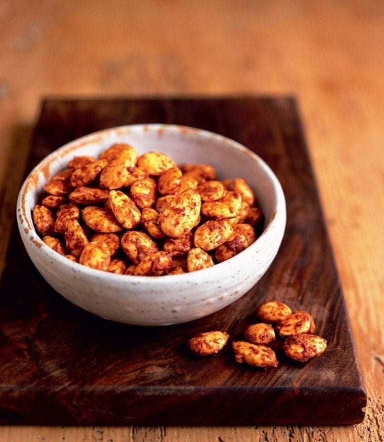 Roasted almonds with grana padano and paprika