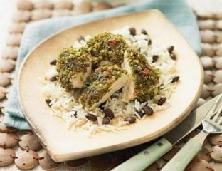 Caribbean chicken with rice and black beans
