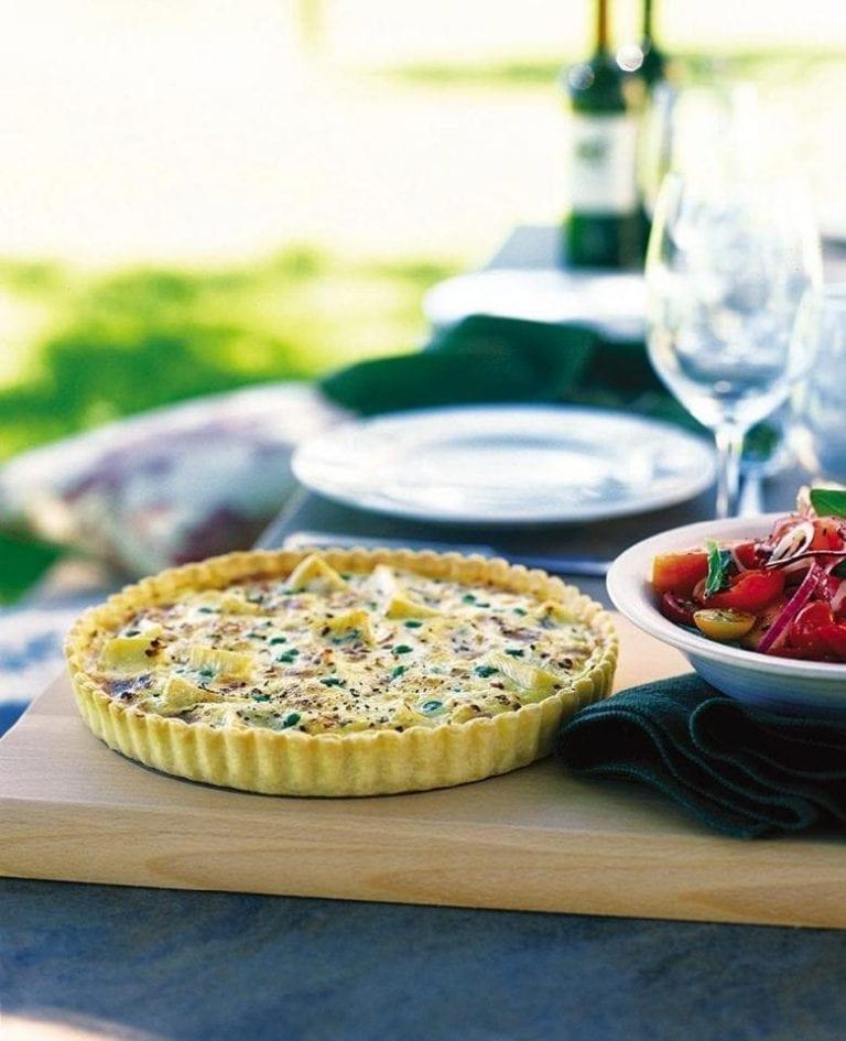 Pea, pancetta and soft cheese tart