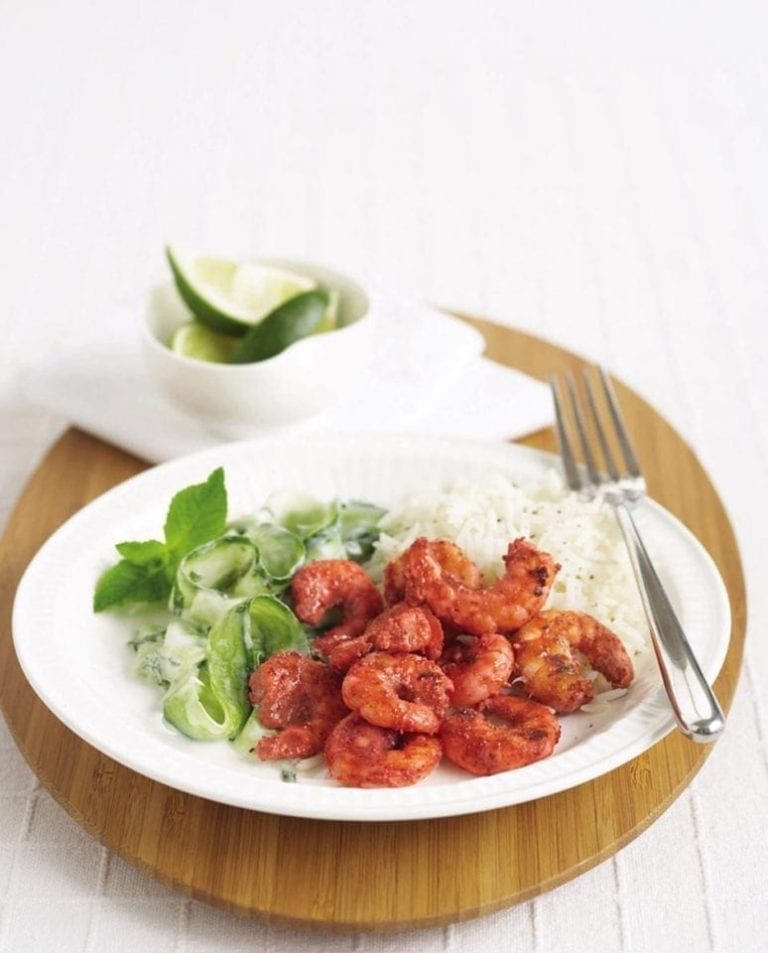 Tandoori prawns with mint raita
