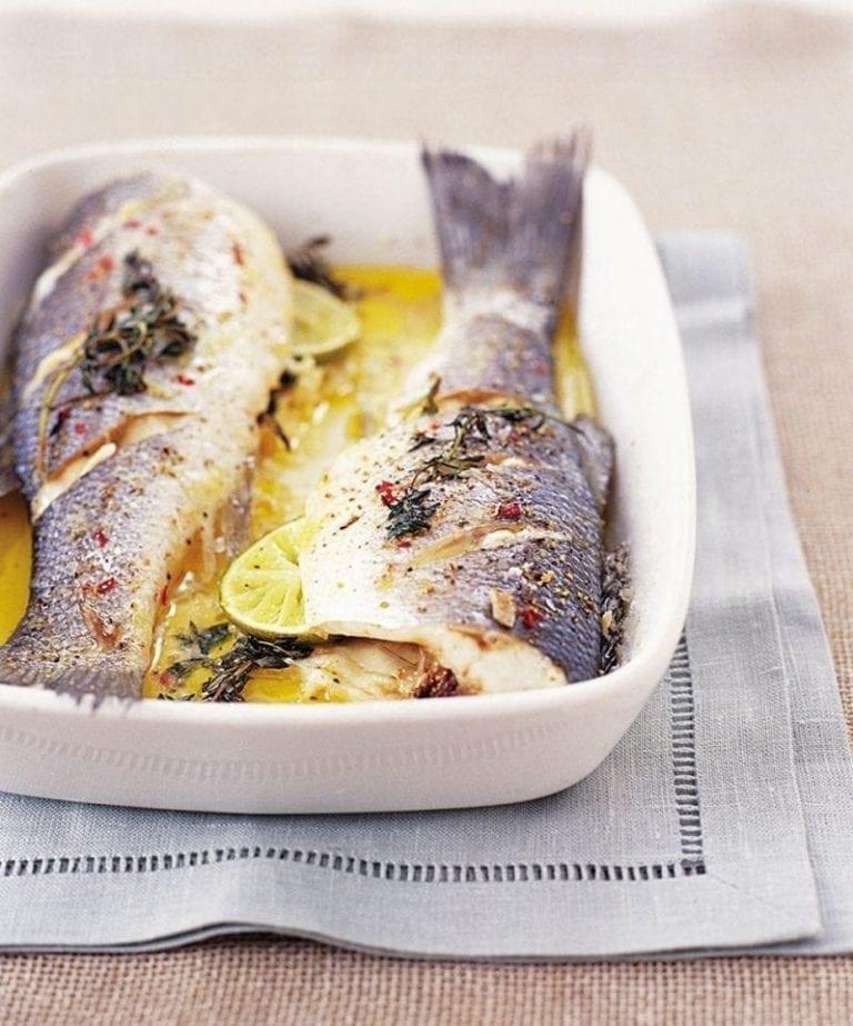 Microwaved herby, zesty sea bass