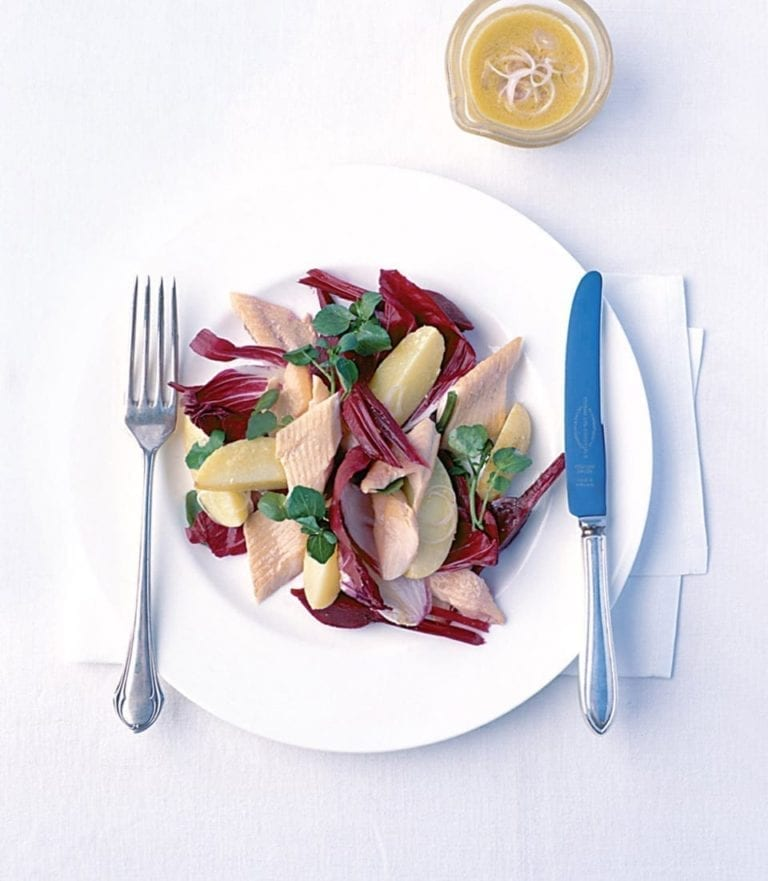 Poached trout, beetroot and new potato salad with horseradish