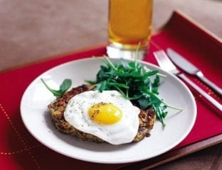 Bean and potato hash with fried egg
