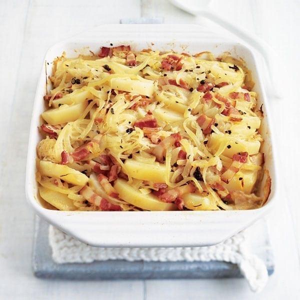 Potato and sauerkraut gratin