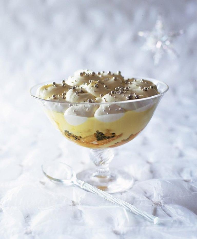 Lemon syllabub and passion fruit trifle