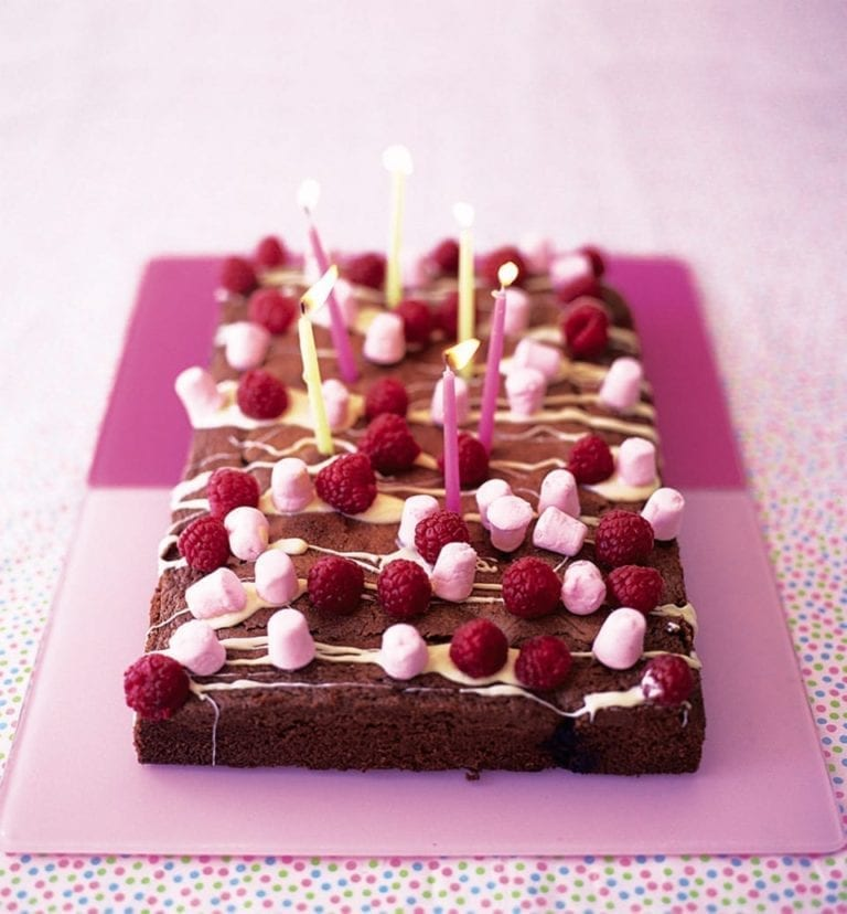 Chocolate and berry tray bake