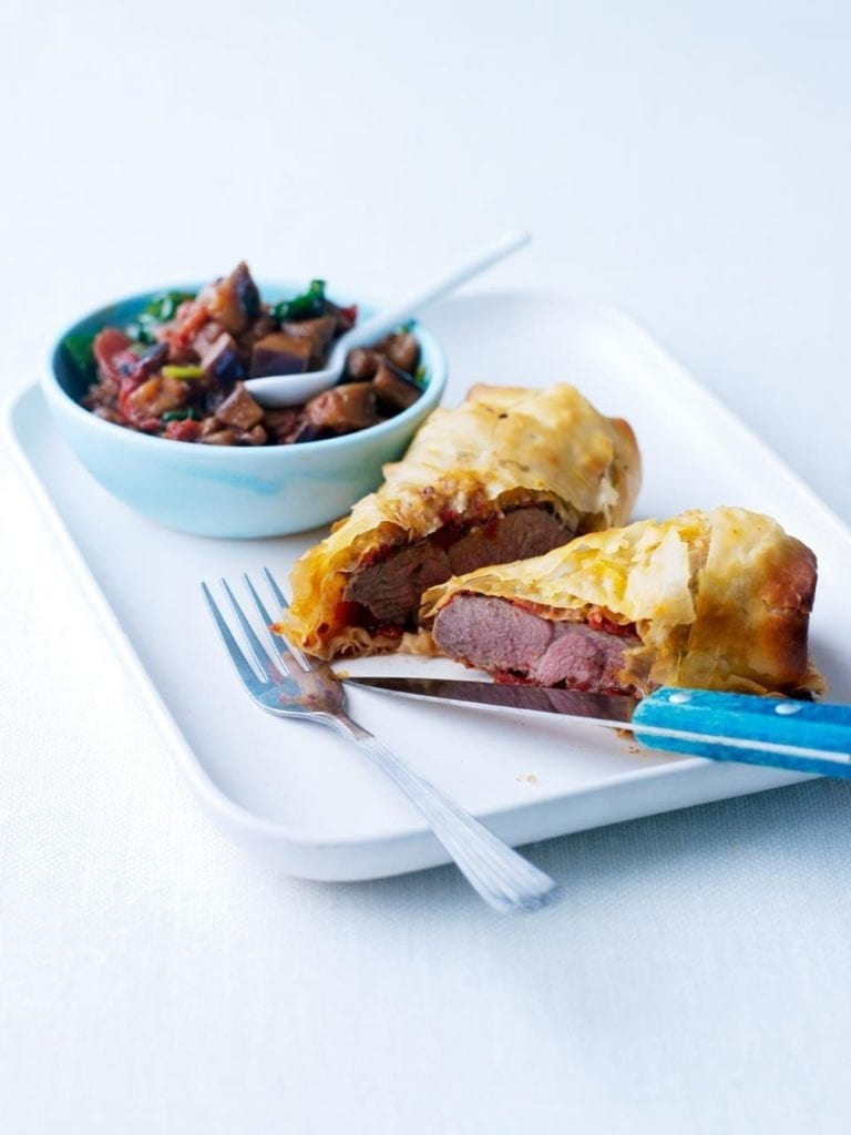 Filo lamb with spiced aubergine ragû