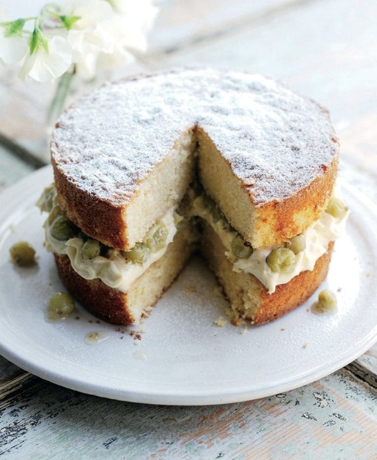 Victoria sponge with crème patissière and gooseberry compote