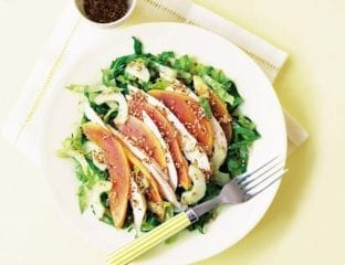 Smoked chicken and papaya salad with a ginger and sesame dressing