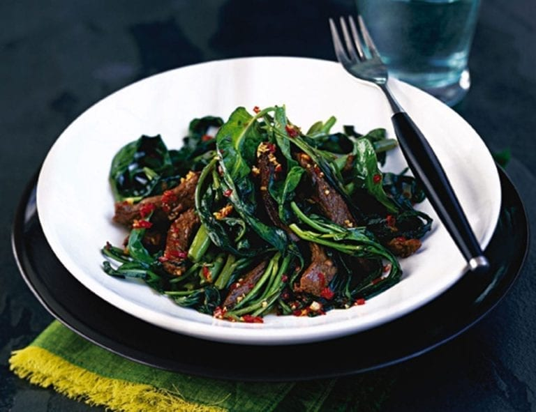 Stir-fried garlic chilli beef and ong choi