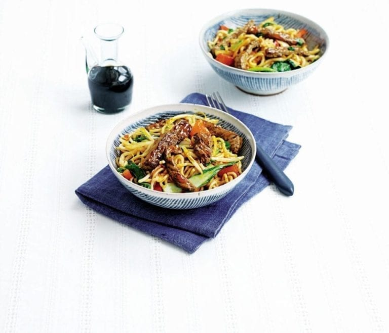 Sweet and sour beef noodles