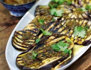 Chargrilled aubergines with chermoula