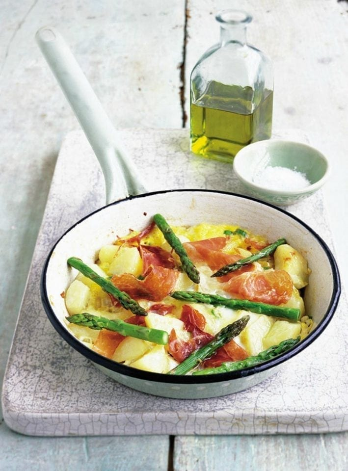 Asparagus and parma ham frittata