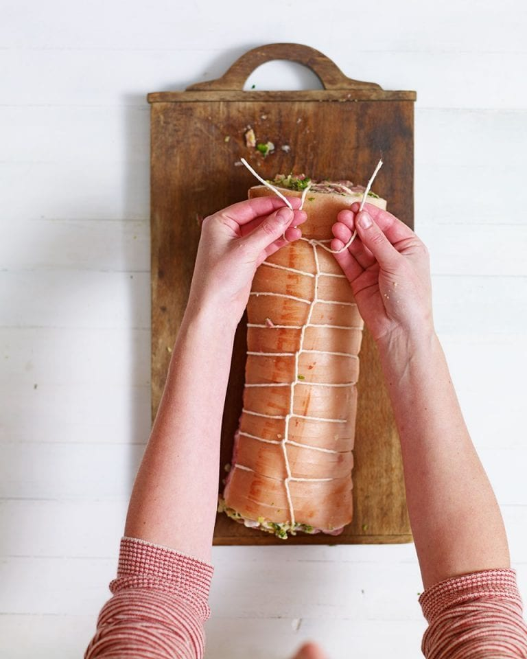 How to roll and tie a pork loin