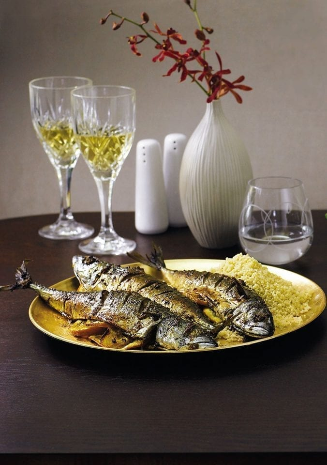 Citrus-baked mackerel with couscous
