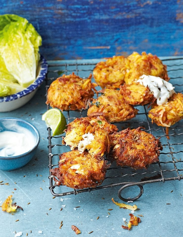 Carrot, sweet potato and feta fritters video recipe