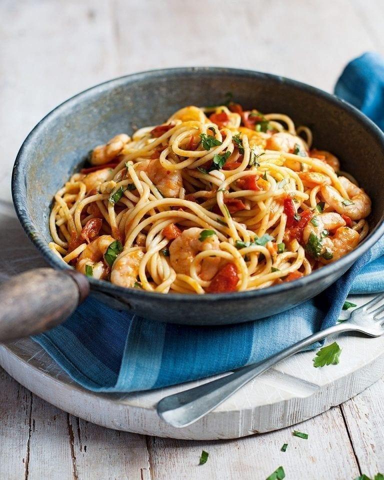 Chilli, tomato and prawn pasta – video