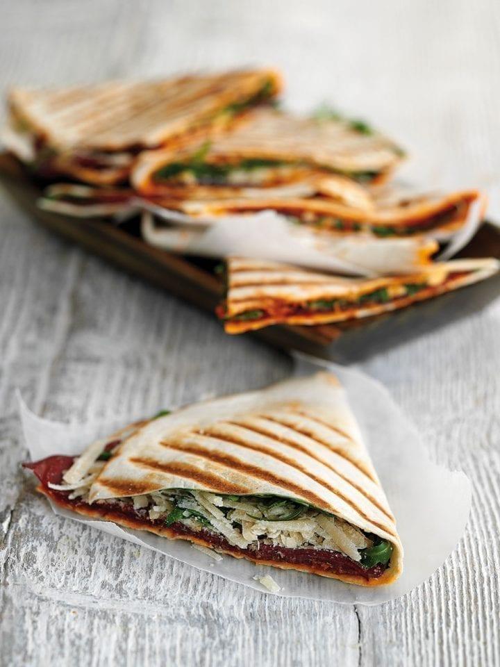 Folded piadina with bresaola