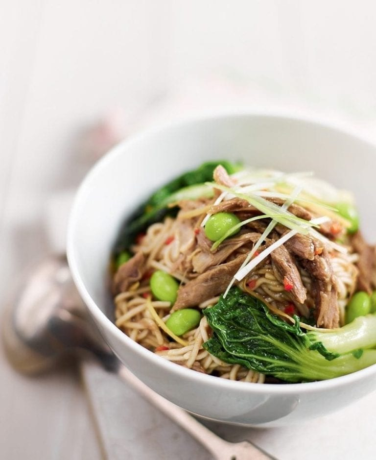Cheat's plum duck noodles