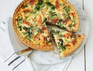 Cheat's hot-smoked salmon tart