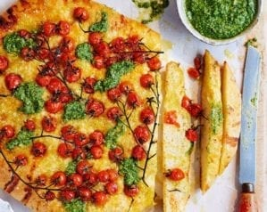 Pesto focaccia with vine tomatoes video recipe