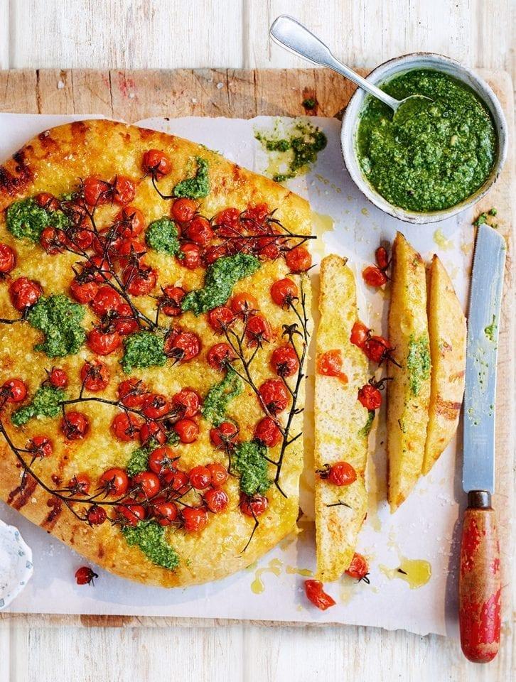 Pesto focaccia with vine tomatoes video recipe