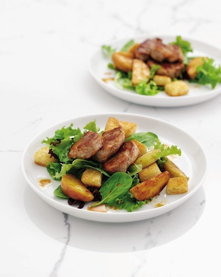 Quick pork and apple salad with cider dressing